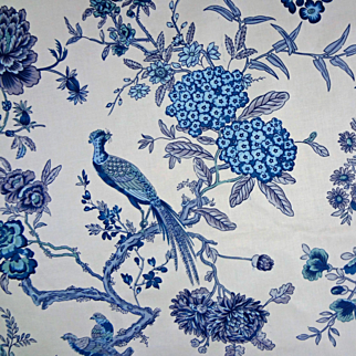 9 Yards Luxury Fabric Bailey & Griffin pattern Bird and Bough Blue / Indigo / White - copyright 1964, England