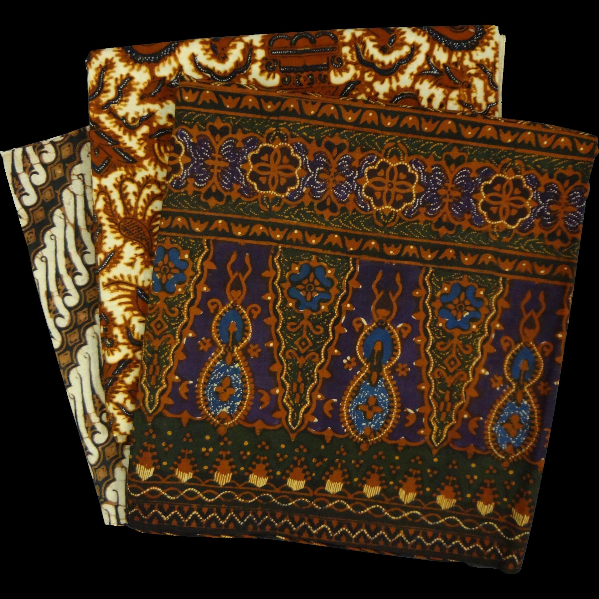 Lot Indonesian Batik Kain Panjang Wax Dyed Cotton Textiles