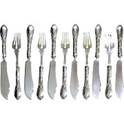 Art Nouveau 800 Silver Handled Knives Forks Fish Set - c. 19th Century, Germany
