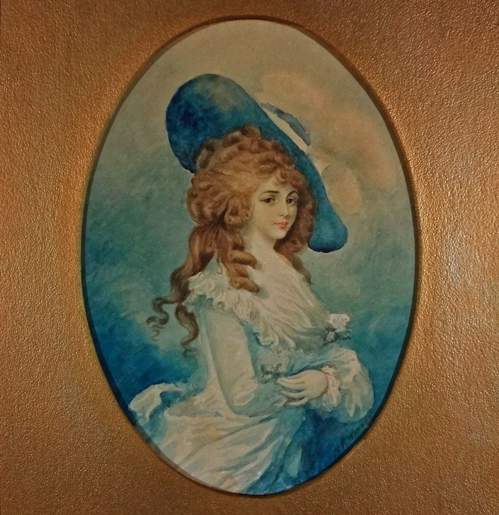 Watercolor signed M. F. Winner after Gainsborough's Georgiana, Duchess of Devonshire Portrait -late 19th/early 20th Century, USA
