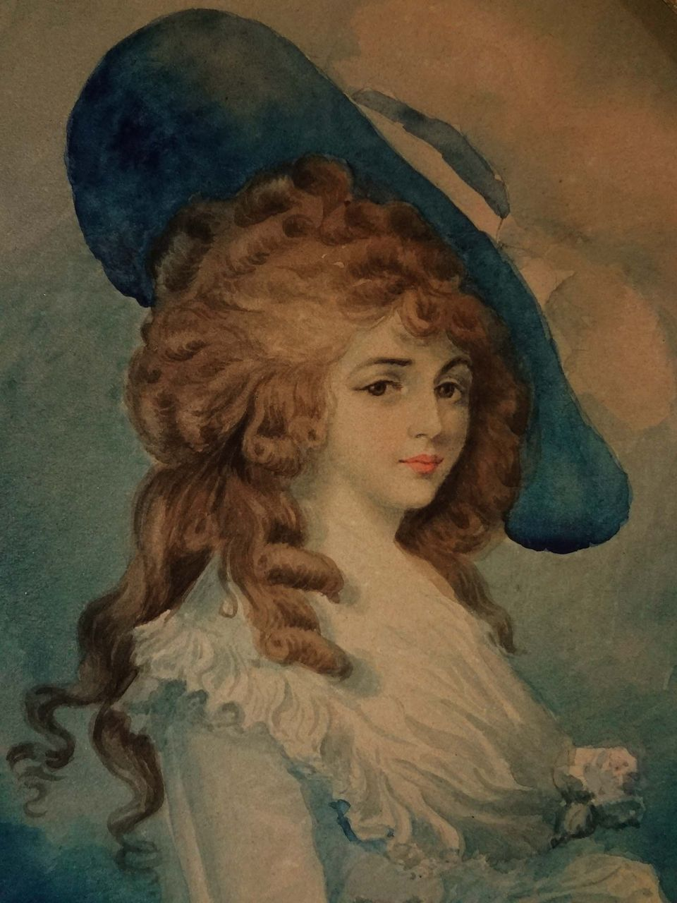 Watercolor signed m f winner after gainsborough 39 s for The devonshire