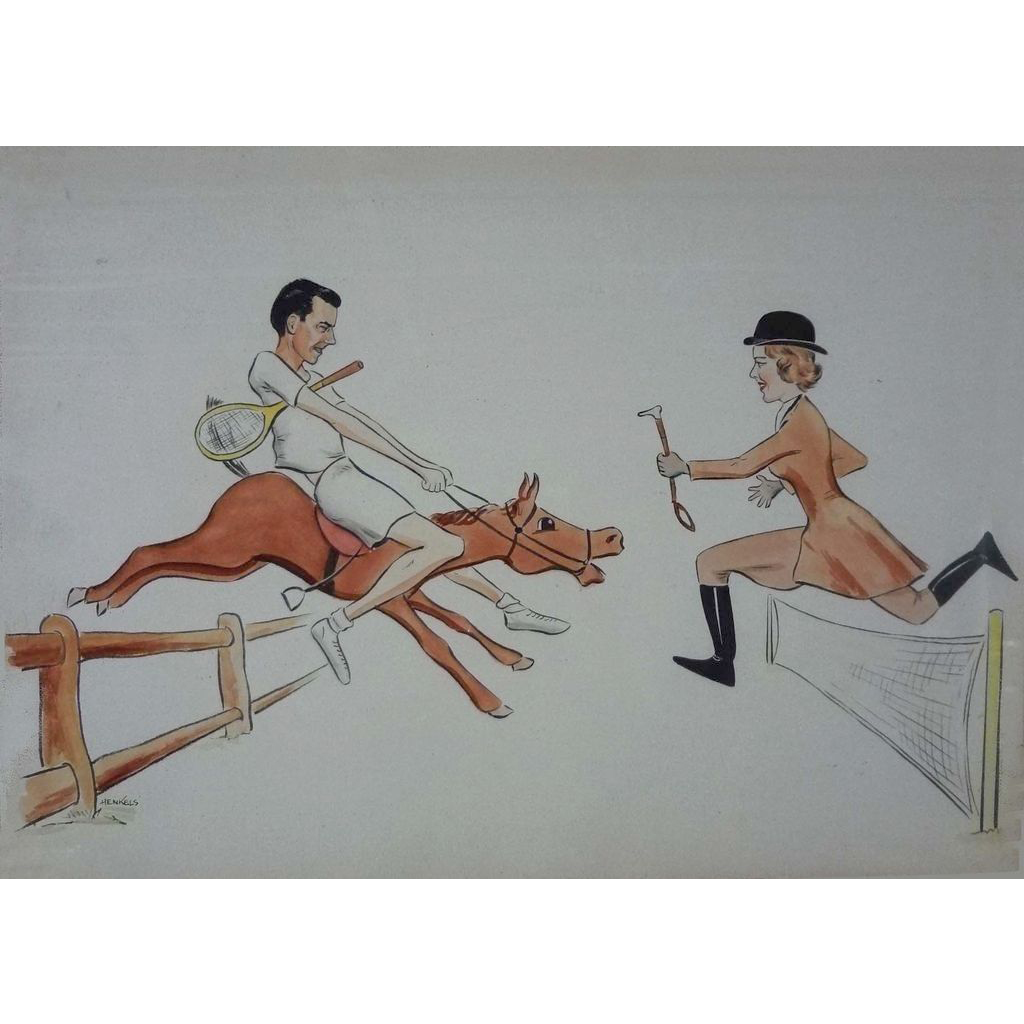 1950's Lithograph Tennis Equestrian Sports Color Lithograph signed Henkels