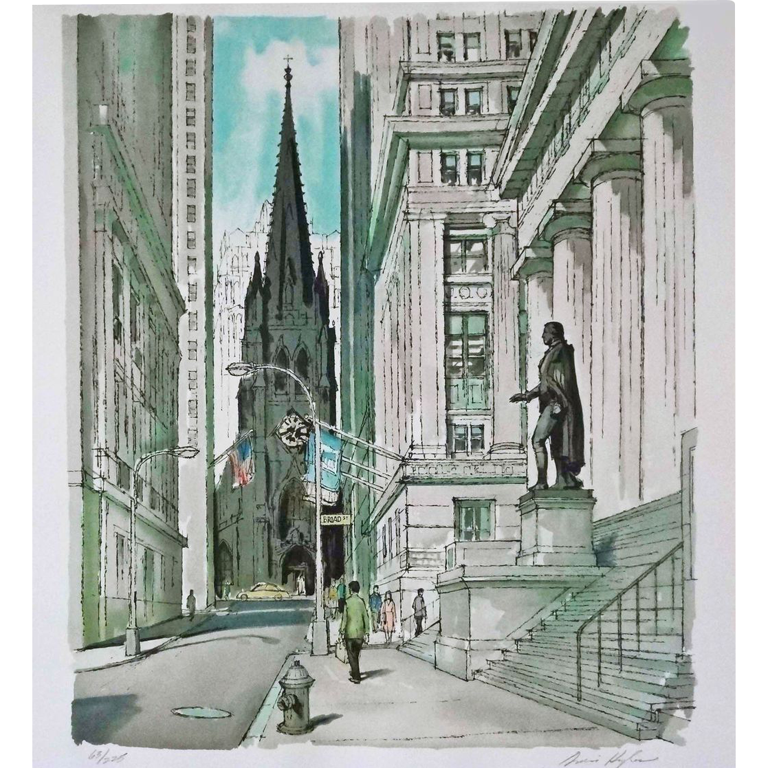 Original Limited Edition Wall Street Silkscreen / Serigraph Print Pencil Signed Ardis Hughes New York Manhattan - 20th Century, USA