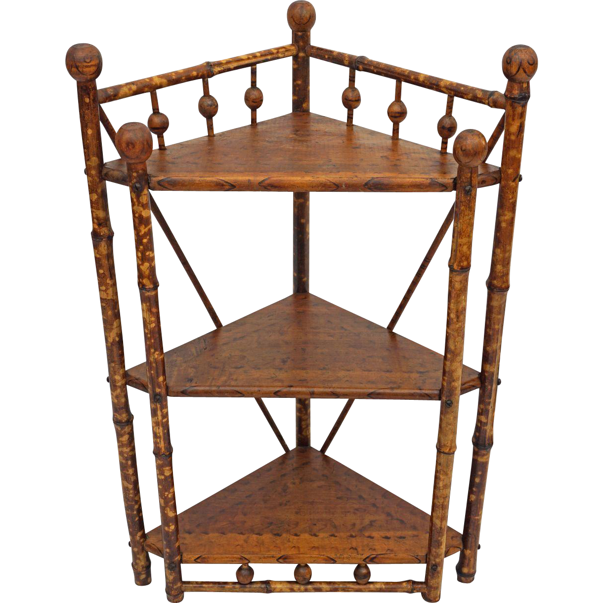 British Colonial Style Bamboo Stick and Ball Corner Etagere / Stand / Shelves - c. 1900's, England