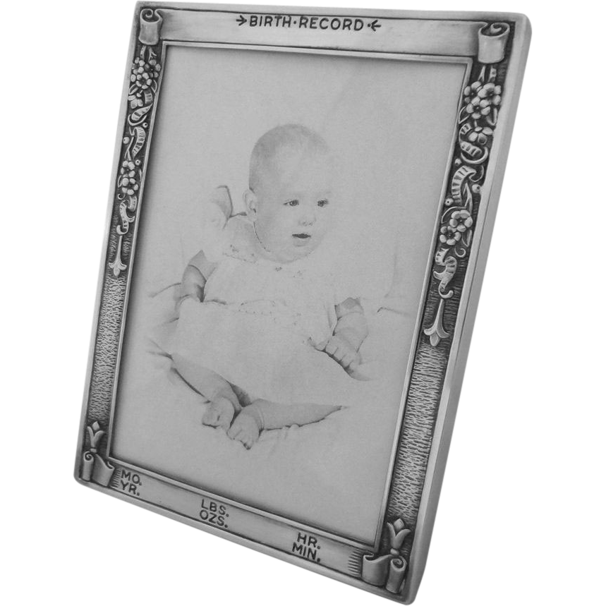 Sterling Silver Baby Birth Record Picture Frame Webster Co. - 20th Century, USA