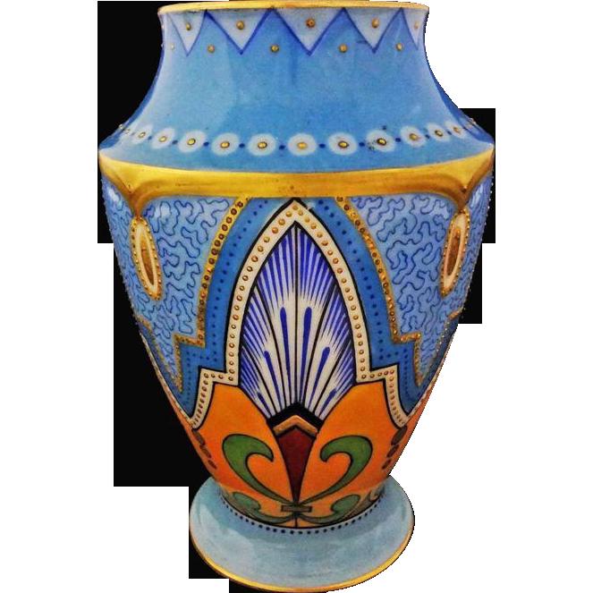 Art Nouveau Style Painted Porcelain Vase Turquoise Yellow Gilt