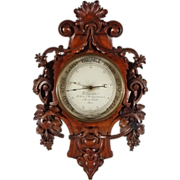 French Holosteric Barometer Signed B. Leja Carved Black Forest Case - c. 19th Century, France