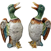 Pair Majolica Ducks Flapping Wings Shape Figural Pitchers