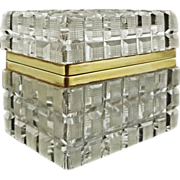 French Cut Crystal and Bronze Mount Rectangular Dresser Box / Casket with Hinged Lid - c. 20th Century, France