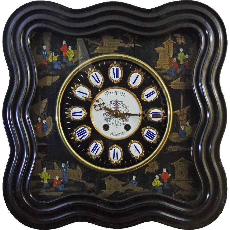 French Mother of Pearl Chinoiserie Napoleon III Ebonized Wall Clock - 19th Century, France