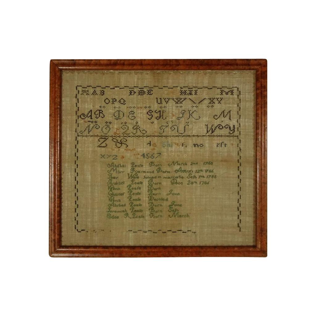 Embroidered Needlework Sampler Family Register Massachusetts / Maine Abishai Pease and Mary Raymond