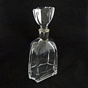Daum Crystal Modern Decanter Oversize Stopper Chrome Trim - c. 20th Century, France