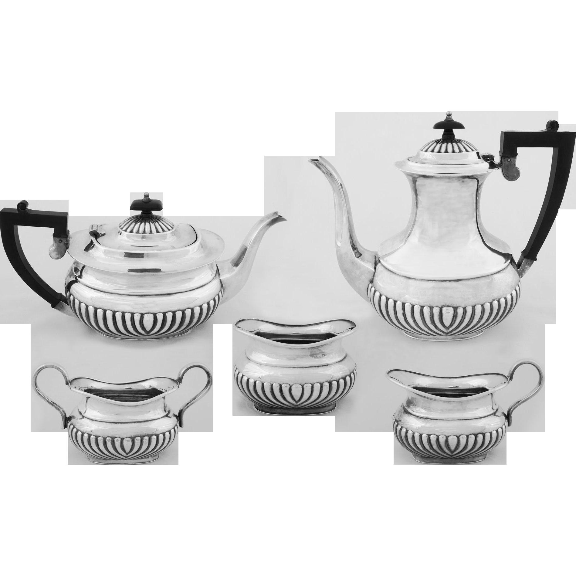 English Sheffield 5 Pc Set Coffee Tea Pot, Cream, Handled Sugar, Open Bowl, Ebonized Handles, Silverplate - 20th Century, England