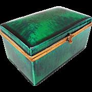 Paul Milet Sevres Sea Green Glaze Rectangular Porcelain Dresser Box / Casket Hinged Lid - c. 1930's, France.