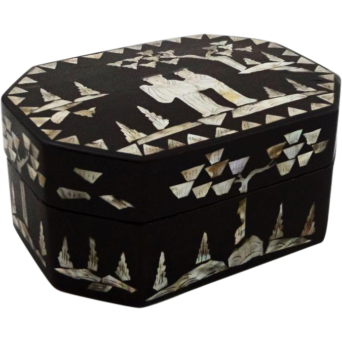 Chinese Papier Mache Mother of Pearl Octagonal Lidded Box
