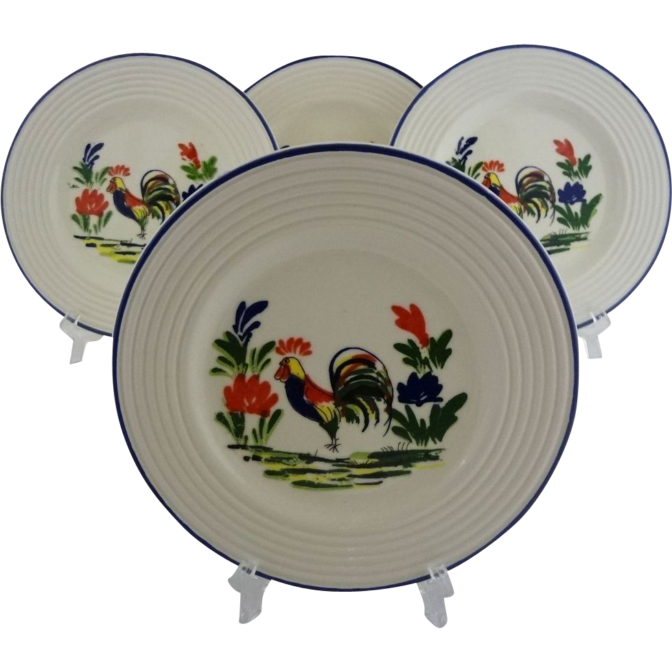 Set 4 French Provence Varages Salad Plates Rooster Decor Pottery Faience - 20th Century, France