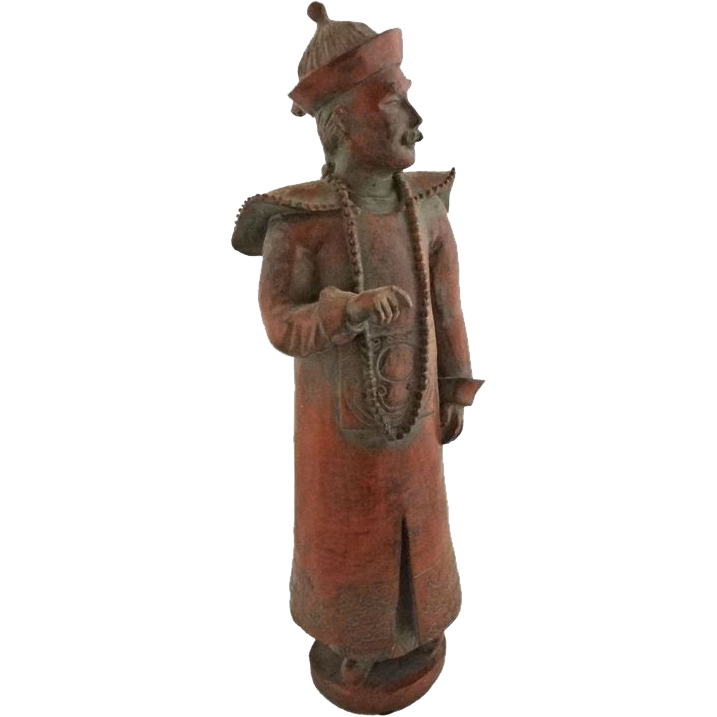 """15"""" Tall Monochrome Figure of Chinese Man / Imperial Official  - 20th Century, China"""