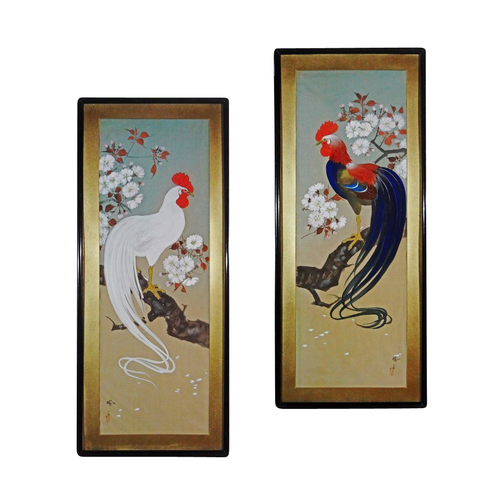 Pair Signed Japanese Rooster and Hen Paintings - 20th Century, Japan