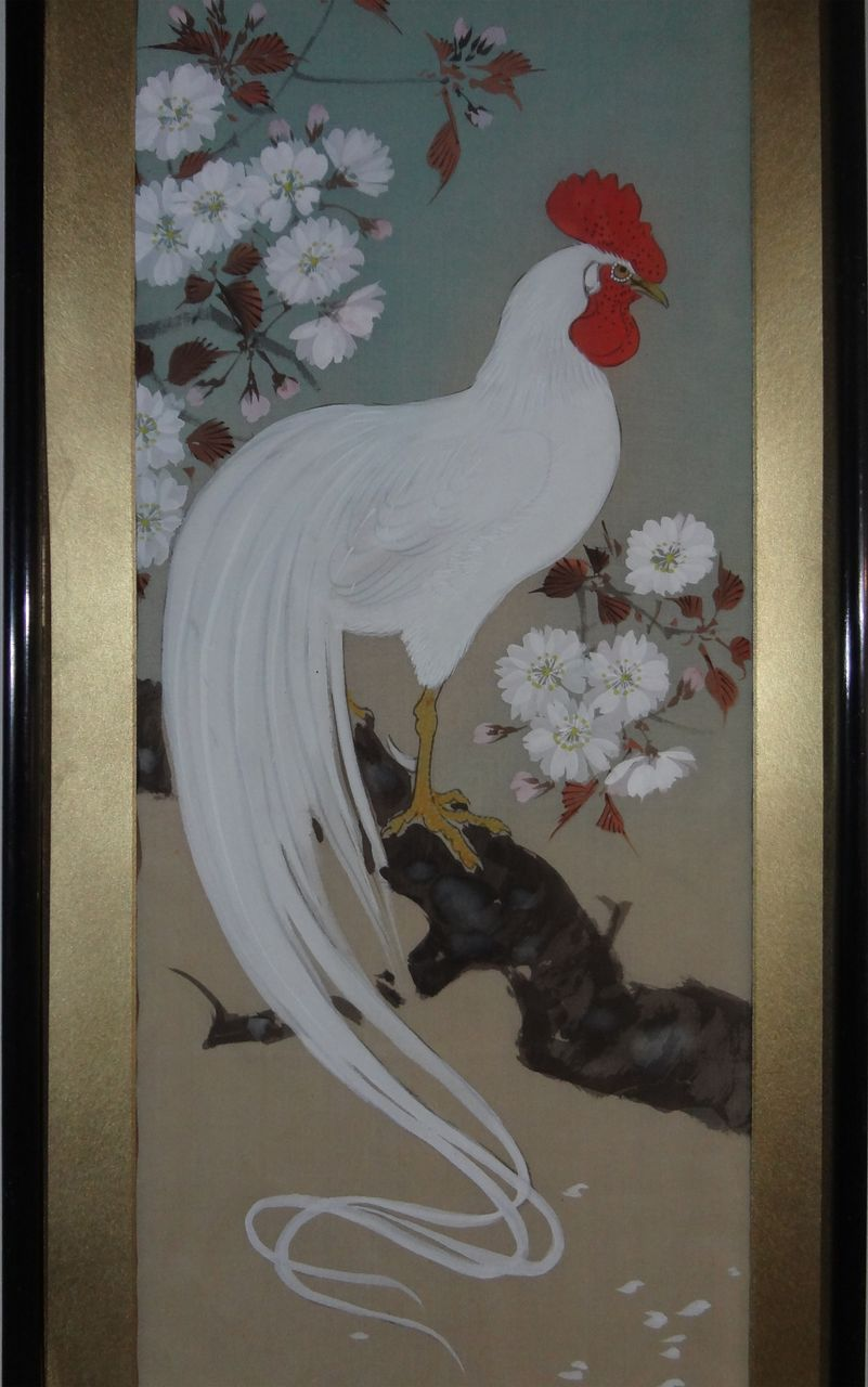 pair signed japanese rooster and hen paintings