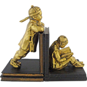 Chinese Boy Girl Students on Stacked Books Large Bookends - 20th Century, USA - Red Tag Sale Item