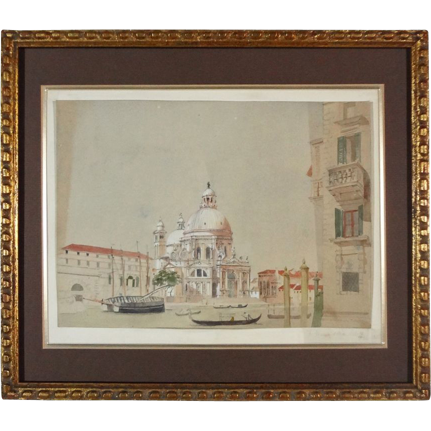 Antique Watercolor Painting of Venice Signed Monogram and Dated - 1850, Italy