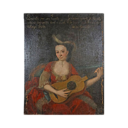 "41"" French Provincial School Portrait Lady Guitar - c. 19th Century, France"