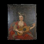 "41"" French Provincial School Portrait Lady Guitar - c. 19th Century, France"