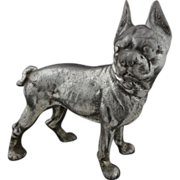 "Boston Terrier Dog Silver Patina Pewter Metal Door Stop 10"" large"
