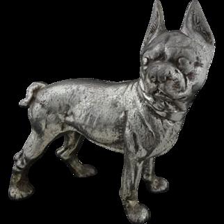 """Boston Terrier Dog Silver Patina Pewter Metal Door Stop 10"""" large"""
