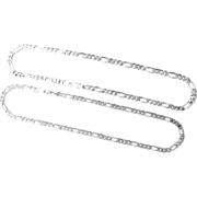 Pair Sterling 80 Grams Total Silver Link Chains - 20th Century, Italy
