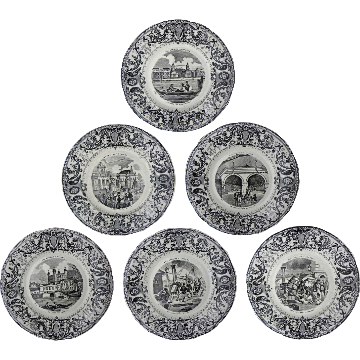 Set 6 Antique French Creil Montereau Grisaille Transferware Plates - c. 1850, France