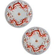 Pair of Chinese Daoguang Style Porcelain Iron Red Dragon Plates Kangxi Mark