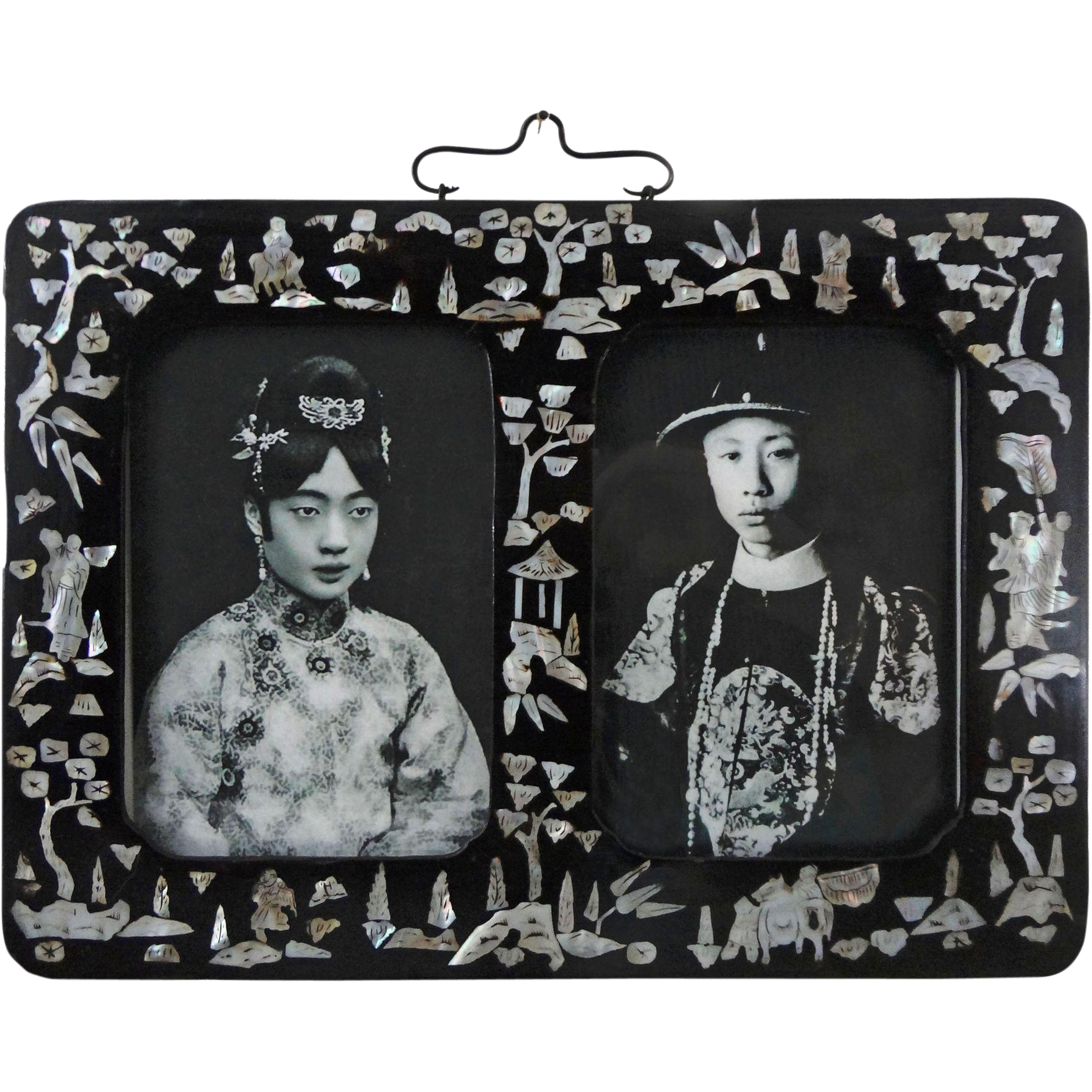 Chinese Papier Mache Mother of Pearl Double Picture Frame