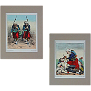 Pair Crimean War Caricature Lithographs French Zouave Elite Forces Jules J. A. Baric - c. 1859, France