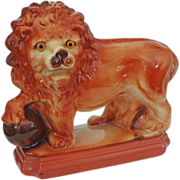 Large Staffordshire Lion and Orb Pottery Figurine Glass Eyes Rectangular Plinth - c. 1920's, England