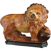 Large Staffordshire Style Lion and Orb Pottery Figure Glass Eyes Rectangular Plinth