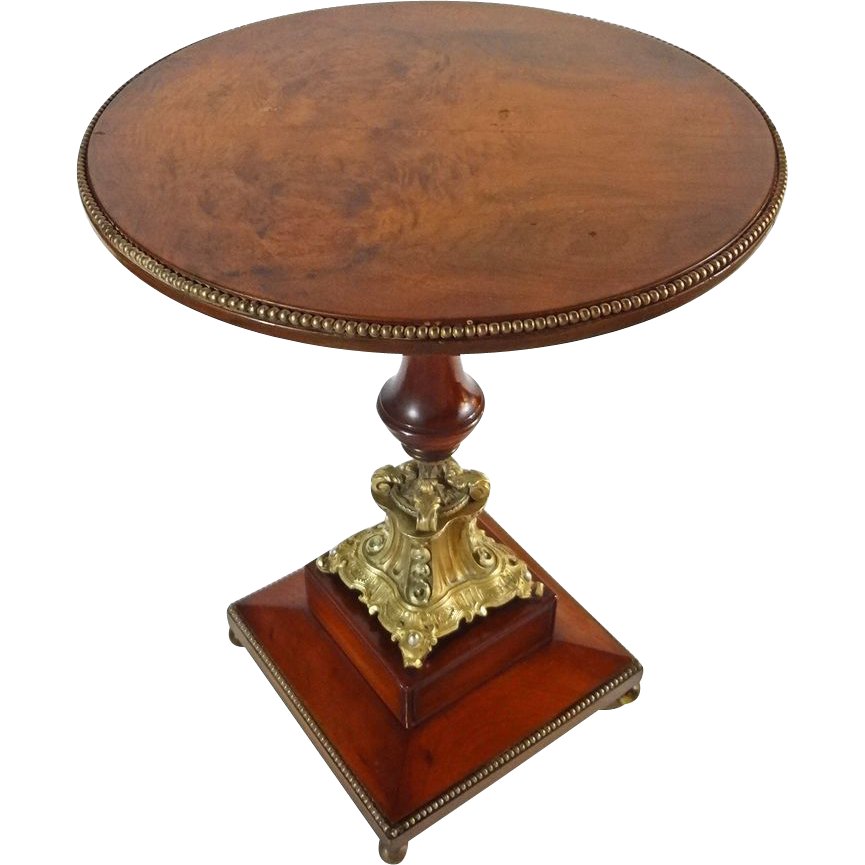French Wood And Bronze Pedestal Gueridon Small Round