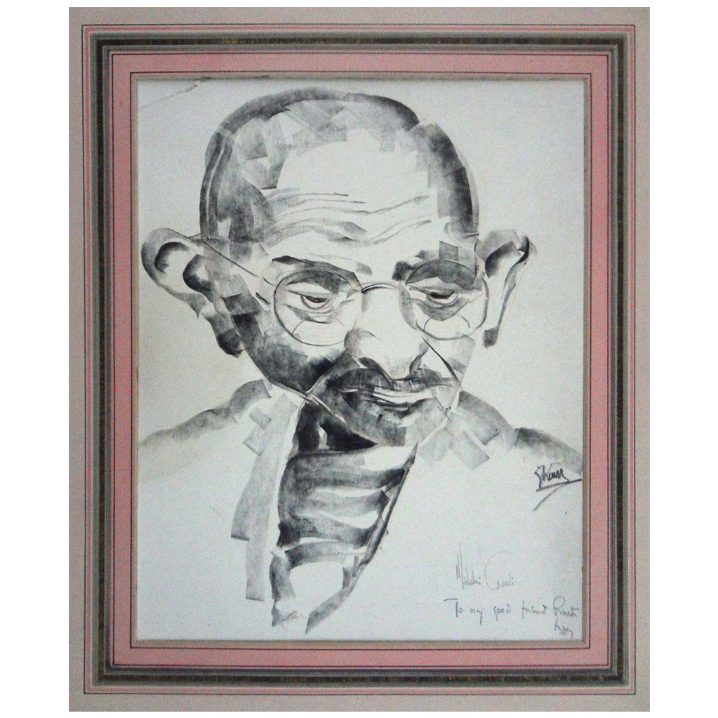 Mahatma Ghandi Black Charcoal Portrait Drawing Signed - 20th Century