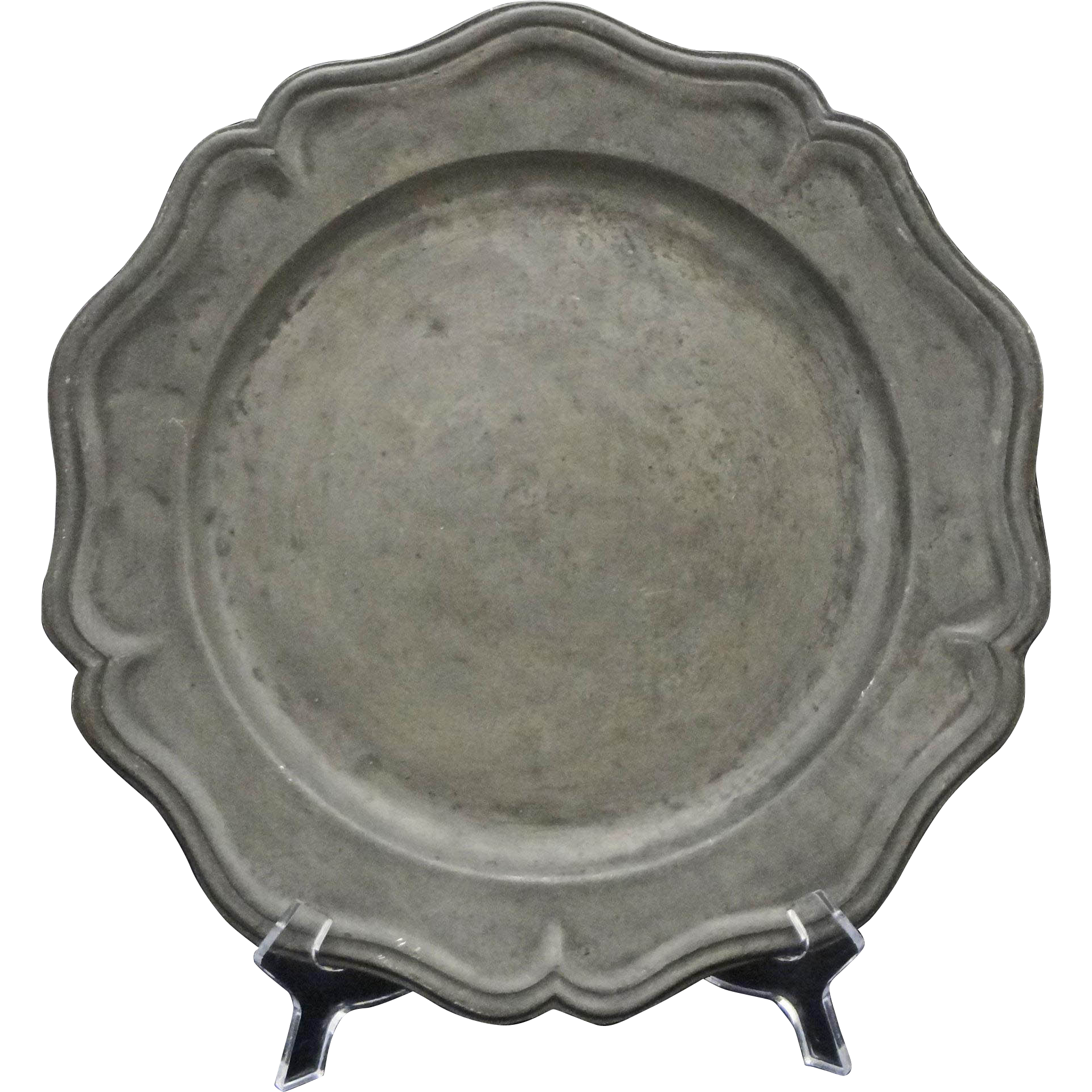 Antique Pewter Dish Crowned Rose Touch Mark Large