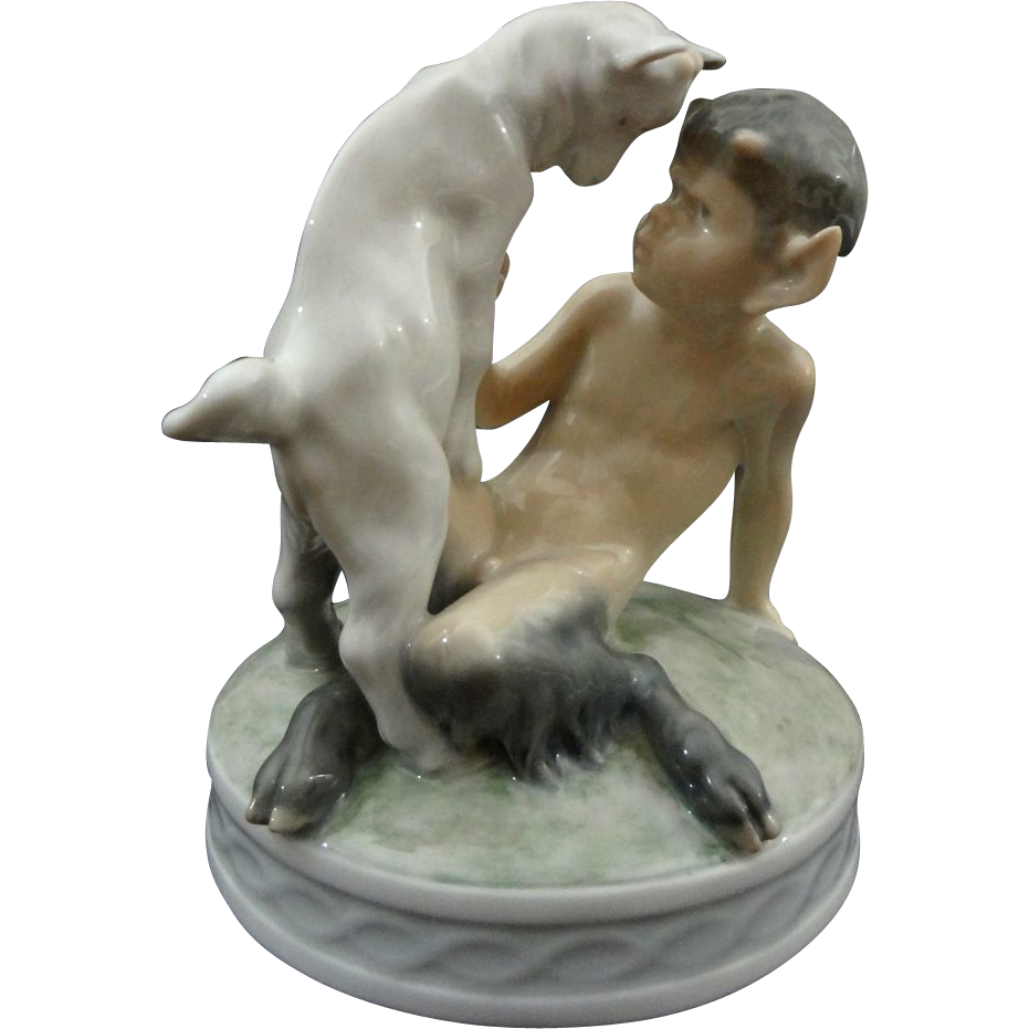 Royal Copenhagen Faun with Goat Animal Figurine Signed - 1949, Denmark