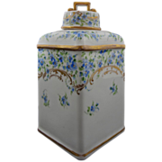 Richard Klemm Tea Caddy Dresden Porcelain Cornflowers - 1889 to 1916, Germany