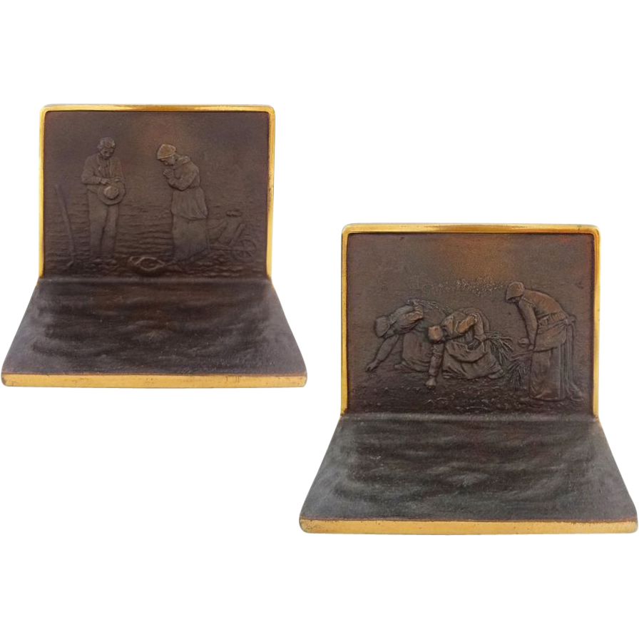 Pair Solid Bronze Bookends after J. F. Millet's The Angelus and The Gleaners - c. 1920's, USA