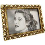 Berebi Jewelled Picture Frame Pearl Bead Swarovsky Crystals Gold Plated Easel Back Limited Edition - USA