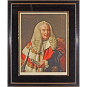 Slave Emancipation Judge Color Mezzotint William Murray, 1st Earl Of Mansfield after Copley by T. Hamilton Crawford Eglomise Framed - c. 1930's, England