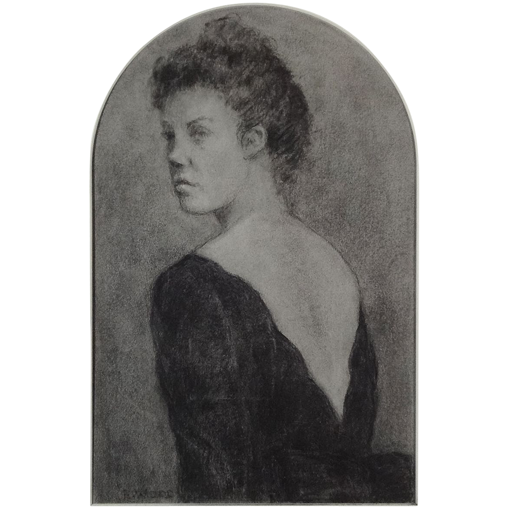 Charcoal Drawing Portrait Young Woman in Black Dress