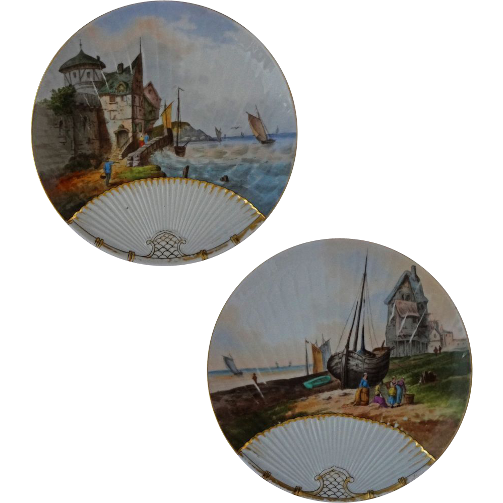 Pair Antique Limoges Seascape Scenic Plates Resembling Fans - c. 1882-1898, France
