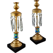Pair Longwy Faience Pottery Bronze Candlesticks Crystal Prisms - c. 19th/20th Century, France