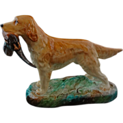 Golden Retriever Hound Dog Porcelain Figurine English Alton Pheasant - 20th Century, England - Red Tag Sale Item