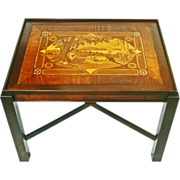 Inlaid Marquetry Coffee Table Figural Pastoral Motif - 20th Century
