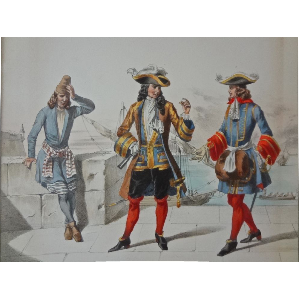 Pair French 17th Century Naval / Military Uniforms Lithographs by David after Dunoyer de Noirmont  - c. 1860, France